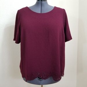 Torrid Burgundy Top with Laser Cut Hem Size 2 (2X)